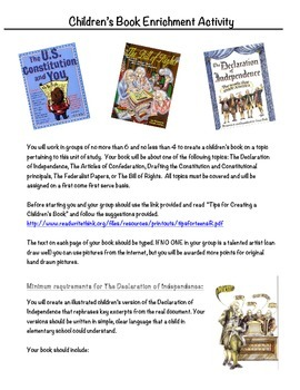 Children's Book enrichment project on The Revolutionary an