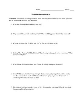 Children's March Video Notes Sheet