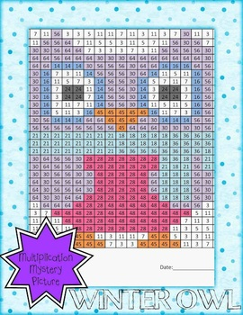 Chilly Owl Multiplication Mystery Picture