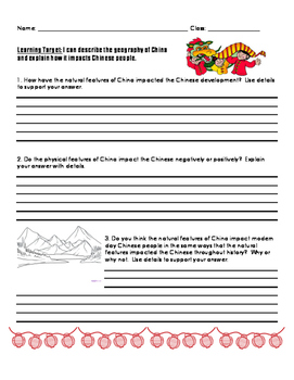 China Geography Short Response Questions 3rd Grade