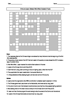 China and Japan Between World Wars Crossword Puzzle