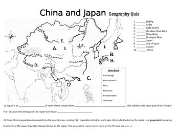 China and Japan Geography Quiz
