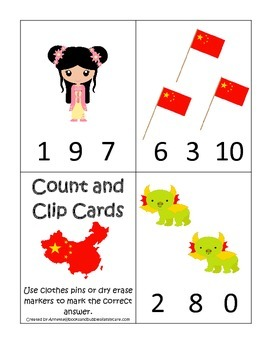 China themed Count and Clip preschool math cards.  Daycare