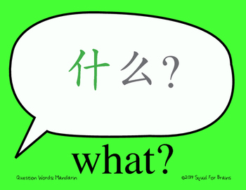 Chinese Character Wall Signs: Question Words Great for Com