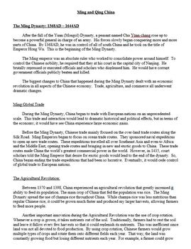 Ming and Qing Dynasties Lesson Plan. Travel Brochure Activity
