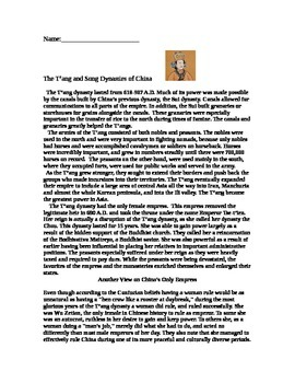 Chinese History Tang/Song Dynasty Reading w/Analysis Questions