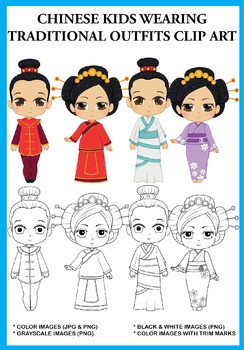 Chinese Kids wearing Traditional Outfits Clip Art