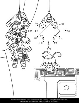 Chinese New Year Coloring and Dot-to-Dot Activity Sheets
