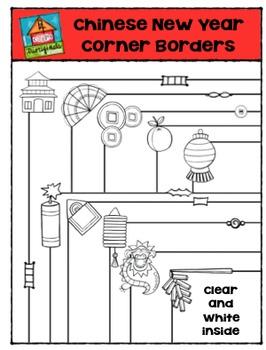 Chinese New Year Corner Borders  {P4 Clips Trioriginals Di