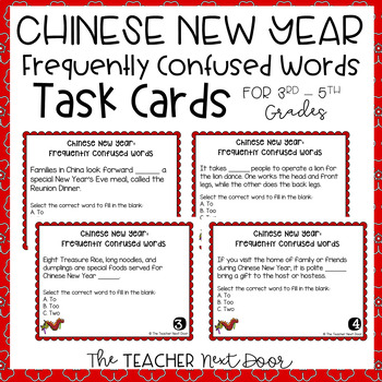 Chinese New Year Frequently Confused Words Task Cards for
