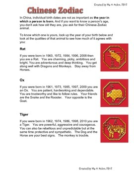 Chinese New Year Learning Centre Activities and Poster inf