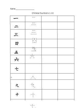Chinese Numbers 1-10 Worksheet