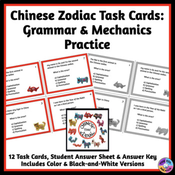 Chinese Zodiac Task Cards for Mechanics and Grammar Practi