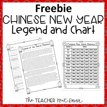 Chinese New Year Legend and Chart Freebie for 3rd - 5th Grade