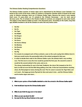 Chinese Zodiac Reading Comprehension and Cloze Sentences