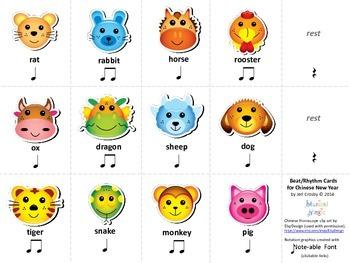 Chinese Zodiac Rhythm Cards FREEBIE - Syllabic Rhythm - Ne