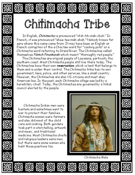 Chitimacha Native American Tribe of Louisiana Informationa