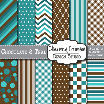 Chocolate Brown and Teal Medley Digital Paper 1076