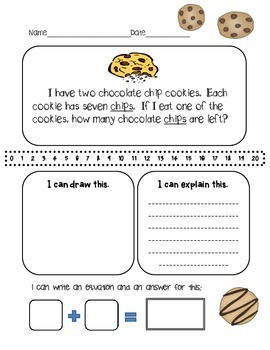 Chocolate Chip Cookie Early Learner Story Problem:Subtract