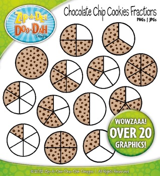 Chocolate Chip Cookie Fractions Clipart — Over 20 Graphics!