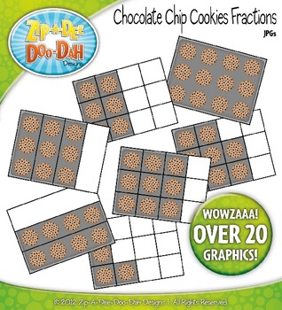 Chocolate Chip Cookie Pan Fractions Clipart — Over 20 Graphics!