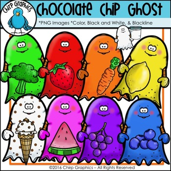 Chocolate Chip Ghost Clip Art Set - Chirp Graphics