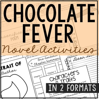Chocolate Fever Novel Unit Study Activities, Book Report,