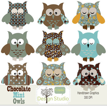 Chocolate Mint Owls Clipart
