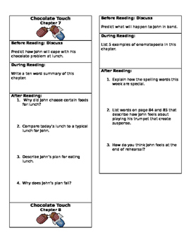 Chocolate Touch Close Reading Chapter Bookmarks- Chapters 7 and 8