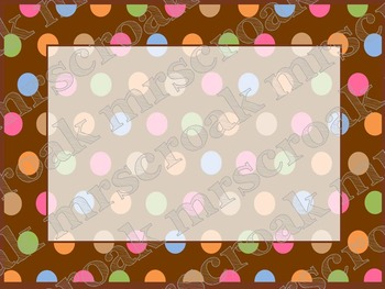 Labels: Chocolate brown with fixed polka dots, 10 per page