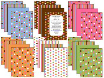 Clipart Papers: Chocolate Brown, polka dots & stripes (per