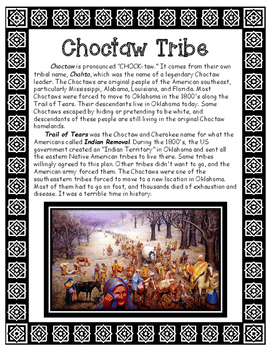 Choctaw Native American Tribe of Louisiana Informational Article