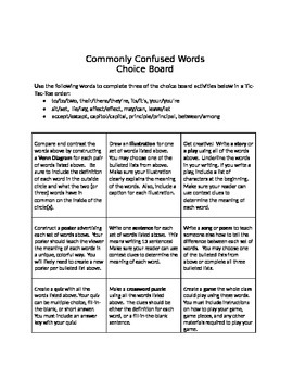 Choice Board Commonly Confused Words