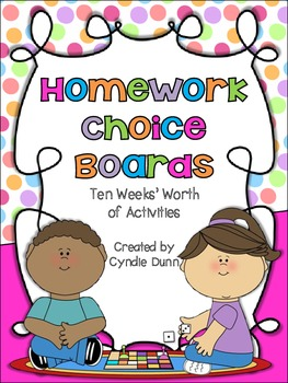 Choice Menus for Homework Activities