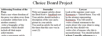 Choice Board Project-government