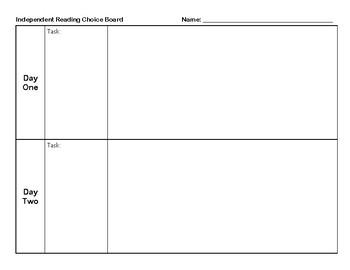 Choice Board Response Sheet
