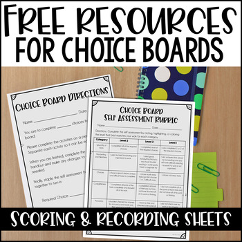 Choice Board Scoring Resources {Free}
