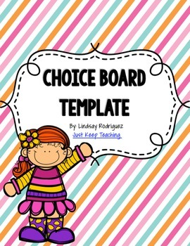 Choice Board Template- Editable; for literacy stations, ce