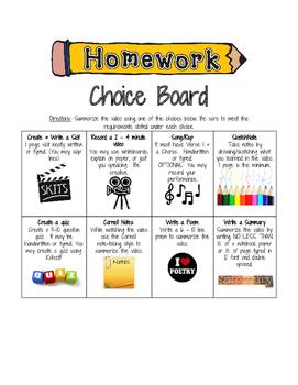 Choice Board for Summarizing Videos