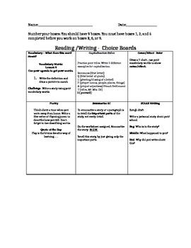 Choice Boards for Reading/Writing