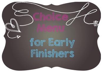 Choice Menu Bulletin Board Kit - A4 Size - Early Finishers