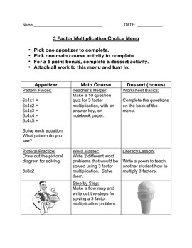 Choice Menu - Three Factor Multiplication