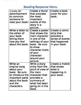 Choice Menu for Reading Response