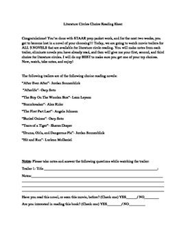 Choice Recording Sheet for Movie Trailers on Lit Circle Novels