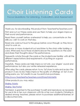 Choir Listening Cards: Focus Questions for Evaluation and