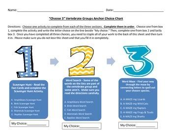 Choose 3 Vertebrate Group Anchor Choice Chart