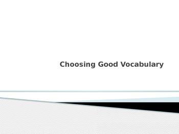 Choosing Good Vocabulary Powerpoint