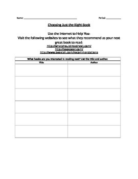 Choosing Just the Right Book Worksheet