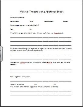 Choosing a Musical Theatre Solo: Student Worksheet