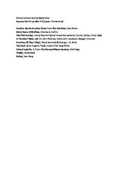 Choral Spring Concert Program